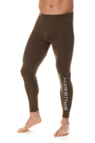 Men's fitted khaki deep brown base layer leggings. With a high-waist these full-length bottoms feature the Brubeck logo on the front of the left shin.