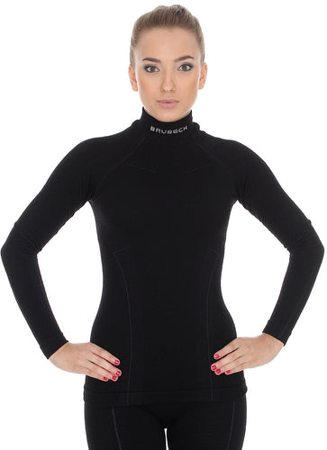 Solid Black women's EXTREME WOOL high-neck long-sleeve. Pictured from the front with matching EXTREME WOOL leggings