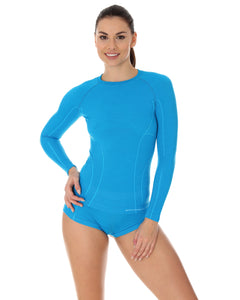 Women's Top ACTIVE WOOL Long Sleeve Light Blue
