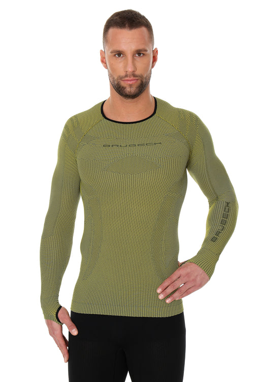Men's Top 3D Bike PRO Long Sleeve Yellow Front