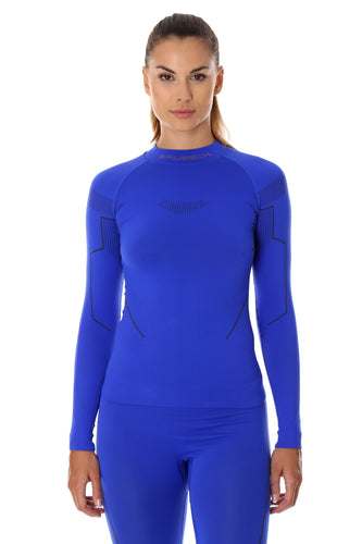 Women's THERMO warming long sleeve top. Pictured from the front in the colour cobalt with black accents on the inner arms and and the BRUBECK logo positioned on the chest
