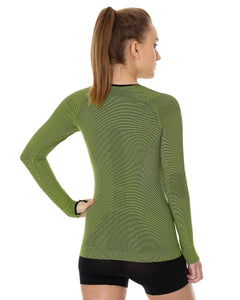 Women's Top 3D Bike PRO Long Sleeve Lime Back