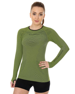 Women's Top 3D Bike PRO Long Sleeve Lime Front