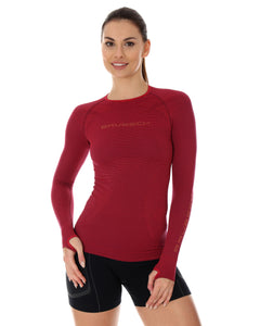 Women's Top 3D Bike PRO Long Sleeve Burgundy Front