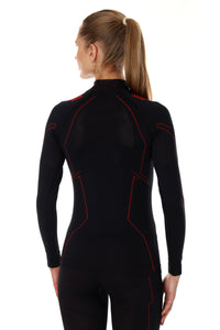 Women's Top COOLER Long Sleeve Black/Amaranth Back
