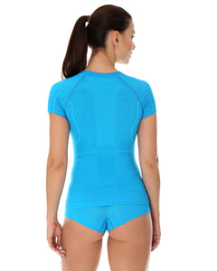 Women's Top ACTIVE WOOL Short Sleeve Light Blue Back