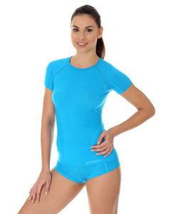 Women's Top ACTIVE WOOL Short Sleeve Light Blue Front