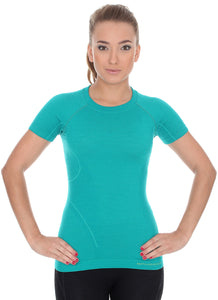 Women's Top ACTIVE WOOL Short Sleeve Teal