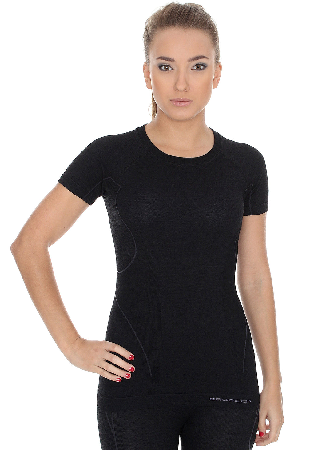 Women's Top ACTIVE WOOL Short Sleeve Black