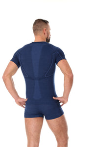 Men's Top ACTIVE WOOL Short Sleeve Dark Blue Back