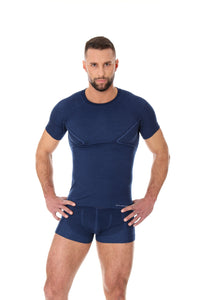 Men's Top ACTIVE WOOL Short Sleeve Dark Blue Front
