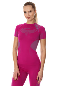 Women's Top DRY short sleeve Fuchsia/Grey Front