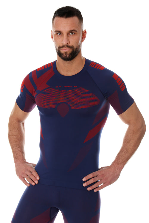 Men's Top DRY short sleeve T-shirt Navy blue/Red Front