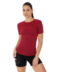 Women's Top 3D Run PRO Short Sleeve Burgundy Front
