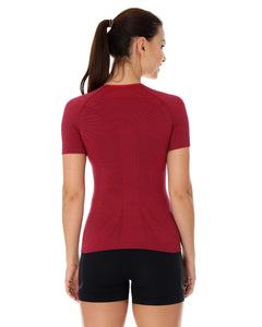 Women's Top 3D Run PRO Short Sleeve Burgundy Back