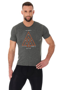 Men's Top OUTDOOR WOOL Short Sleeve Grey Front