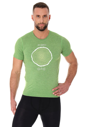 Men's Top OUTDOOR WOOL Short Sleeve Green Front
