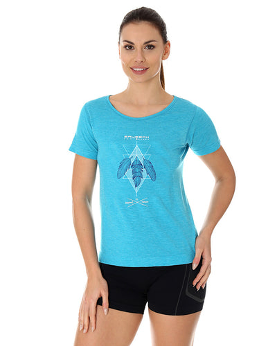 Women's Top OUTDOOR WOOL Short Sleeve Light Blue