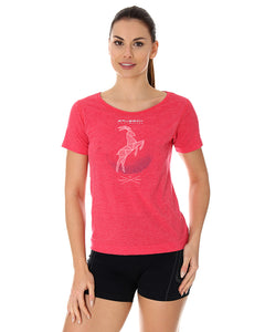 Women's Top OUTDOOR WOOL Short Sleeve Raspberry