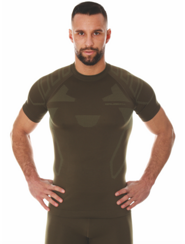 Men's dark brown fitted Ranger short-sleeve crewneck base-layer with accenting lighter shapes on the shoulders, chest and ribs.