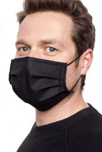 Man wearing protective face mask in black