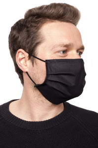 Man wearing protective face mask in black side view