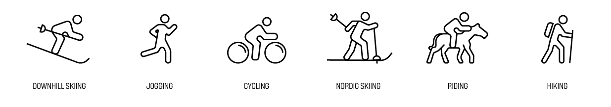 Reccomended for downhill skiing, jogging and running, cycling, biking, nordic skiing, equestrian riding, and hiking