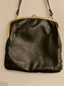 Pleated Leather Handbag - 50s
