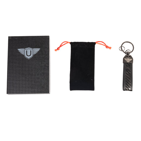 Urban Carbon and Leather Keyring - Black