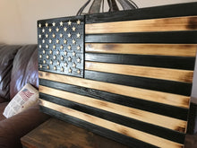 "Load image into Gallery viewer, ""The Charred American"" Wood Flag"