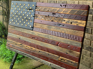 Rustic barn wood flag, wood flag, wooden flag by CustomHeritageFlagCo.com