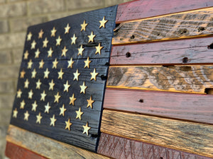 One of A Kind Design, Rustic Barn Wood Flag