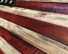Load image into Gallery viewer, wood flag, wooden flag, Custom Heritage Flag Co., Rustic Flag