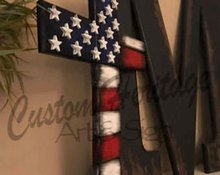 Load image into Gallery viewer, wood flag, wood cross, wooden flag, wooden cross