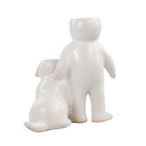 """Person with Dog"" Air Head White Ceramic Pot - Air Plant Holder"