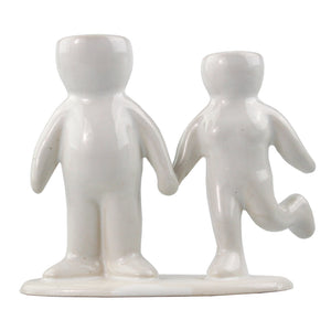 """Happy Couple"" Air Head White Ceramic Pot - Air Plant Holder"