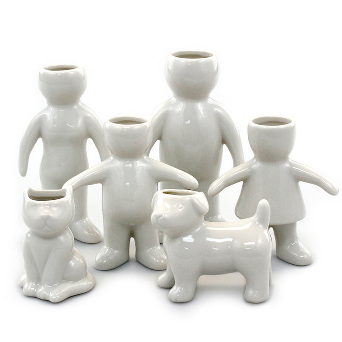 Air Head Family Set of 6 White Ceramic Pots