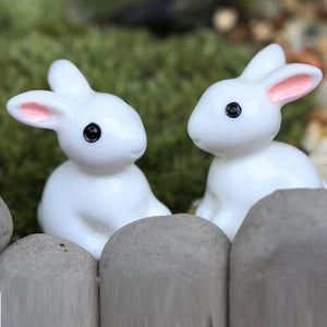 Fairy Garden Accessory - White Rabbits