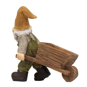 Miniature gnome pulling a wheelbarrow-Fairy garden accent.