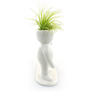 """Happy Couple"" Air Head White Ceramic Pot Complete Kit With Live Tillandsia Air Plant"