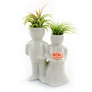 """Wedding Couple"" Air Head White Ceramic Pot Complete Kit With Live Tillandsia Air Plant + ""Hair Spray"" Fertilizer"
