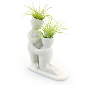 """Baby Bump"" Air Head White Ceramic Pot Complete Kit With Live Tillandsia Air Plant"