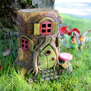 Fairy Garden Tree Stump House | Optional LED Lights