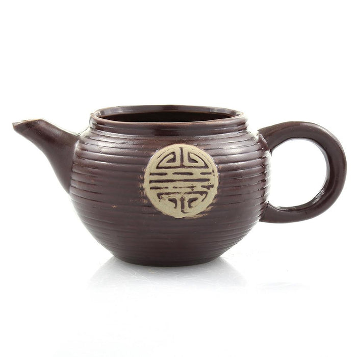 Brown Ceramic Teapot Planter Pot