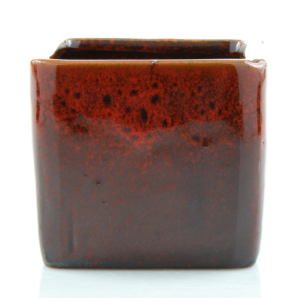 Red Two Tone Square Pot With Hole
