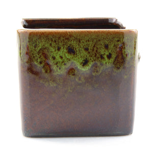 Green Two Tone Square Pot With Hole