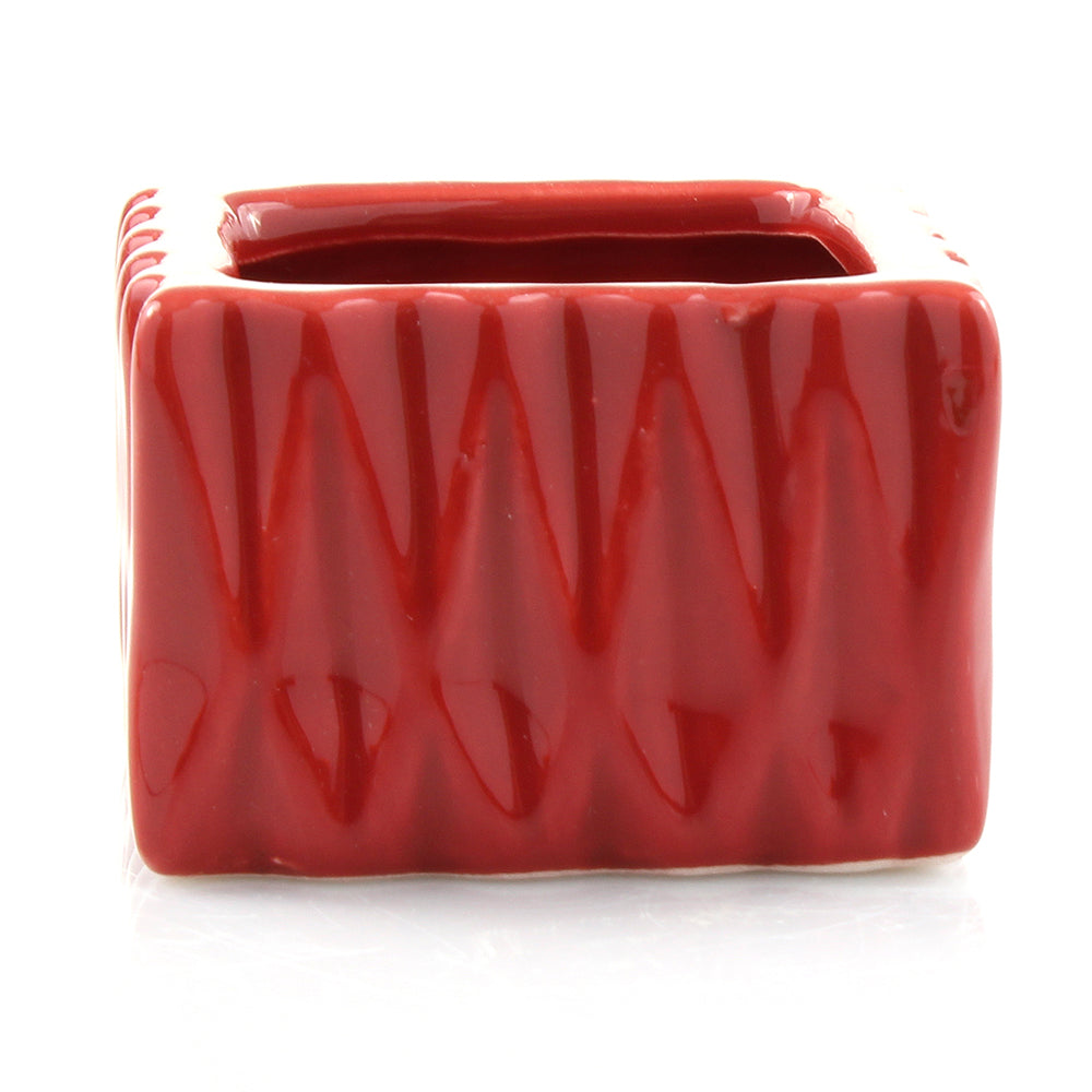 Red Ceramic Square Accent Planter Pot