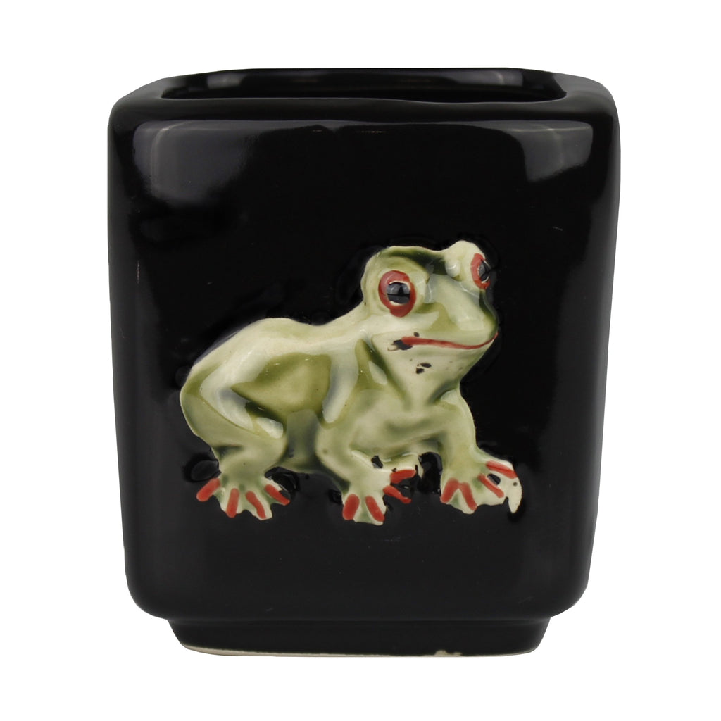 Black Square Frog Design Planter Pot