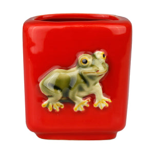 Red Square Frog Design Planter Pot
