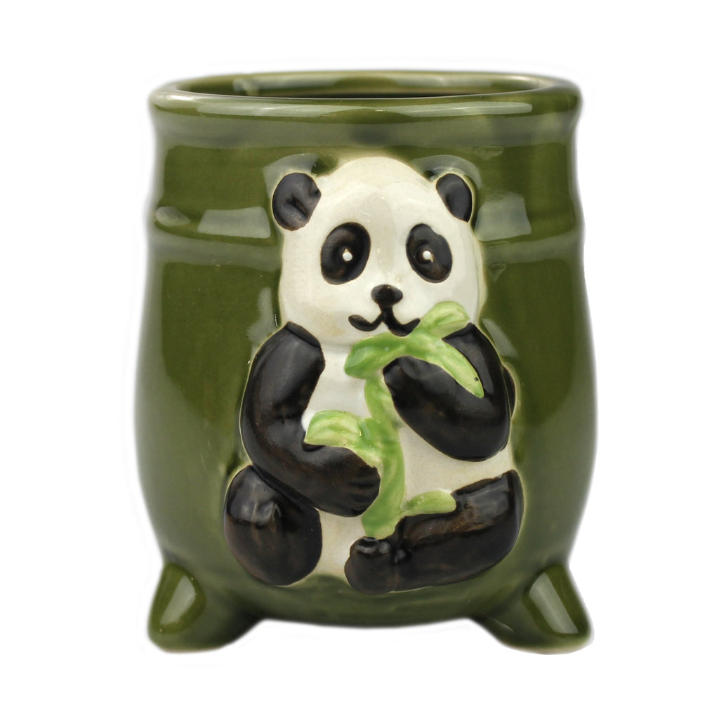 Green Ceramic Panda Standing Planter